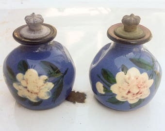 2 pc Lot English pottery. Vintage perfume bottle. Toogoods. London England. Wholesale bulk. Signed. Hand painted. Flowers.  Gardenia.