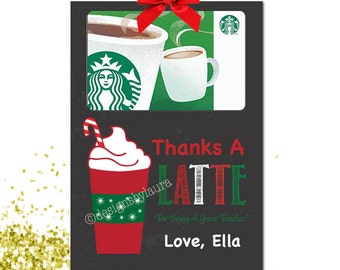 Thanks A Latte For Being A Great Teacher  Gift Card Holder-Printable & Editable-Teacher Gift Card Holder-Daycare Gift