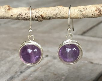 Amethyst Wire Wrapped Earrings, sterling silver, hand-forged