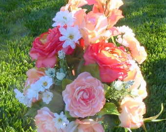 Coral Grave site Flowers - Cemetery flowers - Grave site spray - Memorial flowers - Memorial spray - Sympathy flowers
