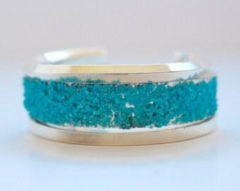 Granulation Turquoise and Sterling Triple Bracelet