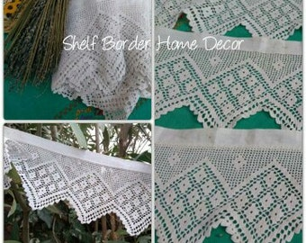 3 Yards Antique Home Decor Lace Shelf Edging Valance Hand Crocheted White Cotton Linen Trim French Home and Kitchen Decor #sophieladydeparis