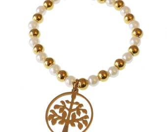 Tree Of Life Bracelet/ Tree Of Life Charm Bracelet/ Pearl Bracelet/Elastic Bracelet/For Her