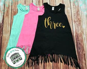 Three Year Old | Fringe Dress | Fringe Tank | 3rd Birthday | Youth | Birthday Dress | Girl Fringe | Glitter | Third Birthday | Toddler Girl