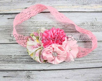 RTS Pink floral lace cluster headband {pink headband, baby headband, lace headband}