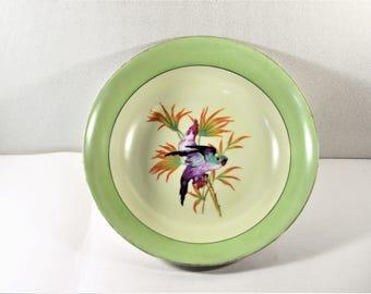 Moschendorf Bavaria Bowl Green Purple Birds Orange Flowers