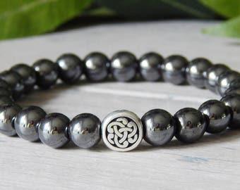 Mens Celtic Knot Bracelet, Men's Hematite Bracelet, Mens Welsch Bracelets, Mens Scottish Bracelets, Mens Irish Bracelets, Celtic Bracelets