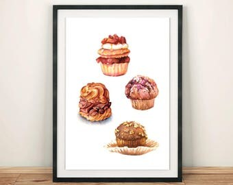 Chocolate Collection Desserts Bakery Cupcake Variety Food Illustration Watercolor Painting Art Print Kitchen Wall Decoration Home Interior