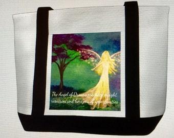 Canvas Tote Bag with The Angel of Dreams  Original Artwork