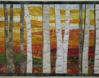 Art Quilt Landscape Birch Trees 6 in Fall, Wall Hanging