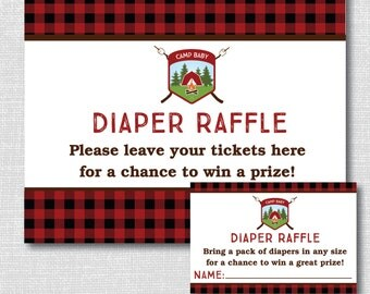 Boy Camping Diaper Raffle Ticket - Camping Baby Shower - Summer Baby - Diaper Raffle Ticket and Party Sign - INSTANT DOWNLOAD