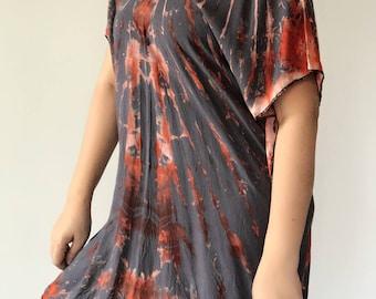 BL0002 Natural Blouse dyed, Shibori blouse, tie dye boho tshirt dress  tie dye // beach cover up