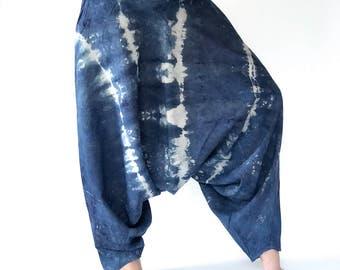 TD0027 Indigo Harem pants  Handmade pants, Thick Smock Waist Low Crotch, Women Yoga Harem Pants  - elastic waistband and cuffs - Fits all !