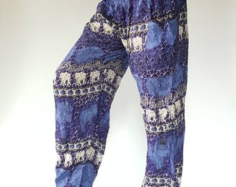 SM0094 Fresh blue oriental line simple design dye color beach home wear party yoga pant trouser nice design cute