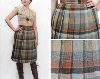 Mustard and Orange Pleated Plaid Skirt