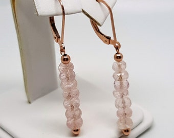 9.71ctw Pink Morganite 14kt Rose Gold Filled Bead Leverback Earrings