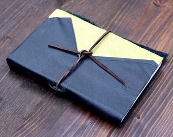 Lined Black and Green Leather Journal