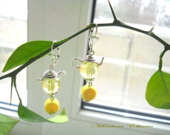 yellow earrings, lemons, for her, spring, tea with lemon, polymer clay