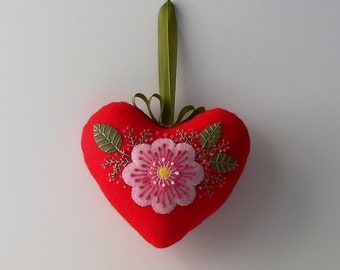 Handmade Felt Red Heart Ornament with large Pink Flower
