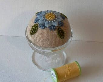 Handmade Pincushion Felted Wool Blue & Yellow Blossom in Vintage Sherbet Dish
