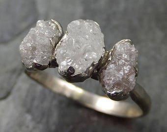 Raw Rough Diamond Engagement Stacking ring Multi stone Wedding anniversary White Gold 14k Rustic byAngeline 0490