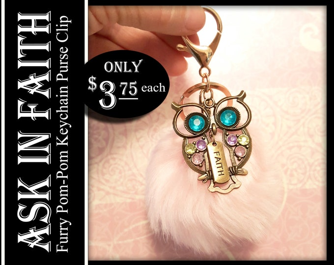 YW 2017 Ask of God Ask in Faith Owl Charms and Furry Keychain Young Women Gifts Purse Clip or Zipper Pull