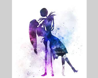 Jack and Sally, Nightmare Before Christmas ART PRINT illustration, Tim Burton, Wall Art, Home Decor