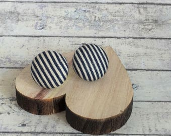 Silver Plated Button Earrings - Fabric Button Studs - Navy & White Pinstripe