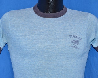 80s Florida Palm Tree Ringer t-shirt Small