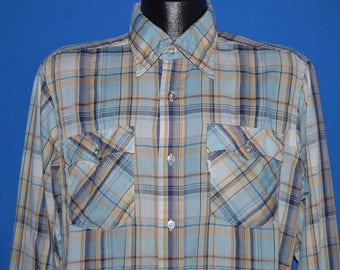 80s Levi's Blue Tan Plaid Button Up Shirt Large