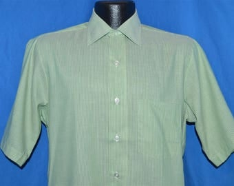 60s Arrow Green Square Collar Striped Shirt Small