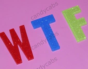 CandyCabsUK 3 Pcs WTF word Letters 30mm Mixed Flatback Decoden Kit Craft DIY Resin Acrylic Decoden Embellishments