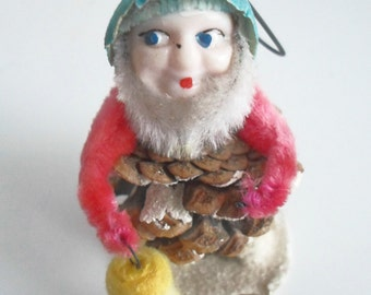 Vintage Christmas Ornament Elf Gnome Lantern Retro Christmas Decoration