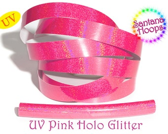 UV Pink Holographic Glitter Taped performance Hula Hoop Polypro or HDPE