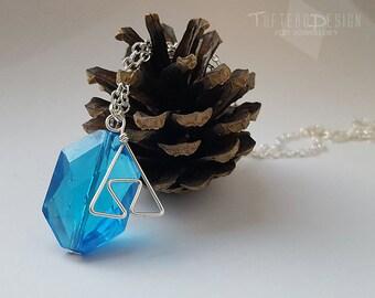 legend of zelda blue rupee necklace, zelda rupee, blue octagonal charm necklace, rupee triforce necklace, zelda charm necklace, rupee charm