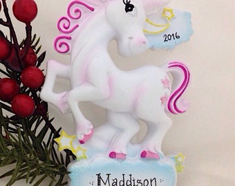 FREE SHIPPING Unicorn Personalized Christmas Ornament / Custom Names or Message / Stocking Stuffer