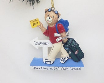FREE SHIPPING CLEARANCE: Travel Bear Personalized Christmas Ornament / Traveler Ornament/ Jett-setter Ornament/ Abroad Ornament