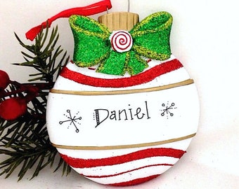 FREE SHIPPING Red and White Christmas Ball with Bow Personalized Christmas Ornament / First Christmas / Child's Ornament / Personalized Gift