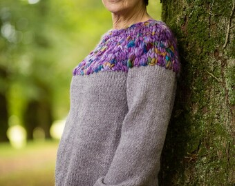 Hand Knit Jumper in Thistle Alpaca and Merino Wool by Crooked Knitwear
