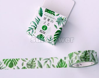 Hibiscus tape,Green leaf washi tape,Masking tape,Planner sticker,Scrapbooking,Wedding deco,Gift wrap