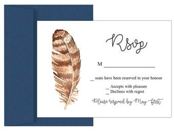 Wedding info card, rsvp post card, reply cards, DIY enclosure card, wedding combo, rsvp download, response cards, feathers invitation, rsvp