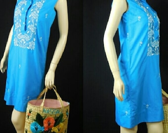 Vintage 60s Shift Dress Ethnic Dress Beachwear Sundress Cotton Dress Small By Tesoros Philippines