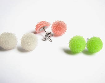 Spring Floral Earrings, Set of 3 Flower Studs, Resin Chrysanthemums Earrings, Lime Green, Rose Pink and White