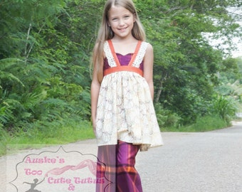 Fall themed loretta lace shirt and double ruffle pants