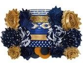 Navy and Gold - DIY Mini Headband Kit - 6 Double or 12 Single Shabby Flower Headbands - Baby Shower - Headband Station / Bar - Z-MHK-050