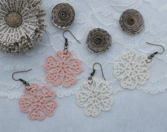 Tatted Lace Earrings - Chic Jewelry -  Bridal Accessory