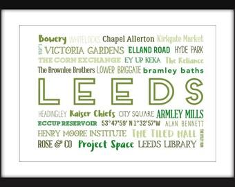 Leeds - A3/A4/A5/11 x 14/8 x 10/5 x 7  Typography Print - A Celebration of Leeds