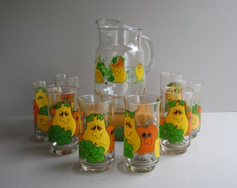 Nancy Lynn Design -Orchard of Enameled Fruit on a Pitcher with  8 -Beverage Glasses. 1970's