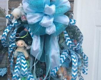 Deco Mesh Baby Wreath, Baby Boy Wreath, Baby Shower Gift, Baby Bow Hospital Door, Hospital Door Wreath, Front Door Wreath, Nursery Wreath