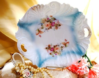 Antique 1800s, Salad Bowl with Hand Painted Peach and Pink Roses
